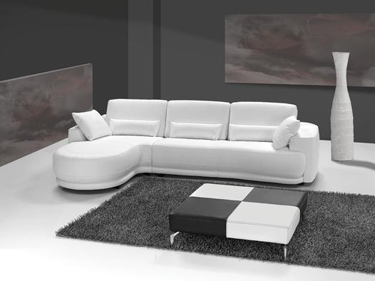 canapé cuir blanc angle