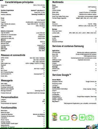 caractéristiques samsung s3