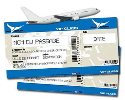 faux billet d\'avion cadeau