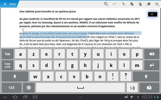 android traitement de texte