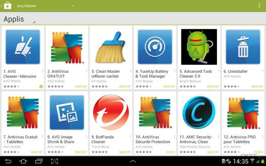 application nettoyage android