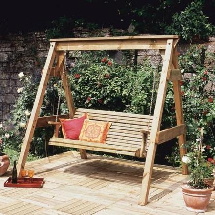balancelle bois jardin