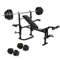 banc de musculation avec barre et poids