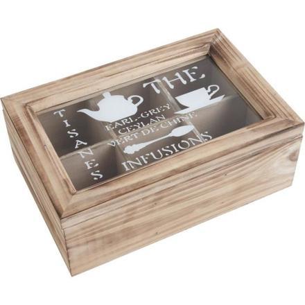 boîte à thé compartimentée en bois