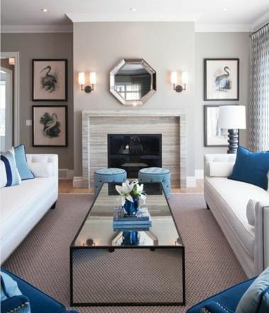 salon gris blanc bleu