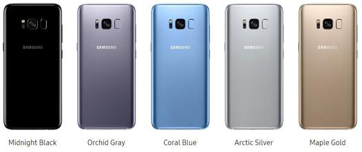 samsung galaxy s8 couleur