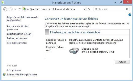 sauvegarde windows 10 sur disque dur externe