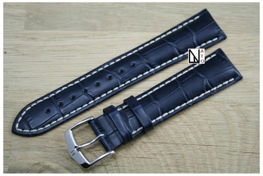 bracelet montre cuir bleu