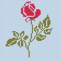 broderie point de croix fleur