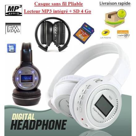 casque audio sans fil avec carte sd