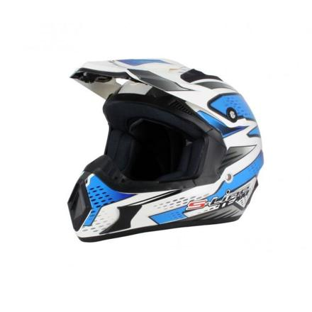 casque moto cross bleu