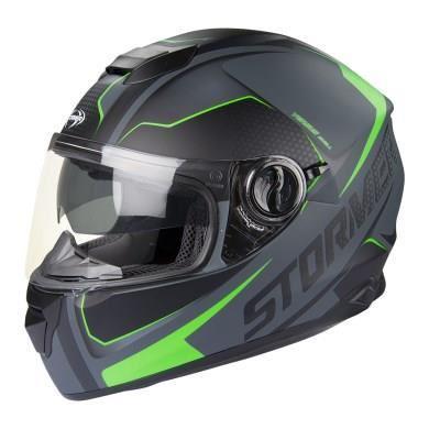 casque moto noir et vert