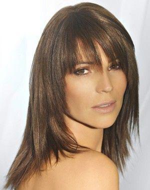 coiffure cheveux long dégradé avec frange