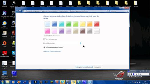 couleur barre des taches windows 7