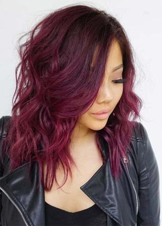 couleur cheveux bordeaux prune