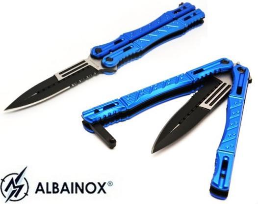 couteau papillon bleu
