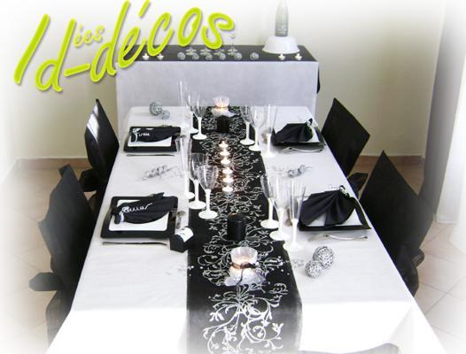 deco de table noir et blanc pour anniversaire