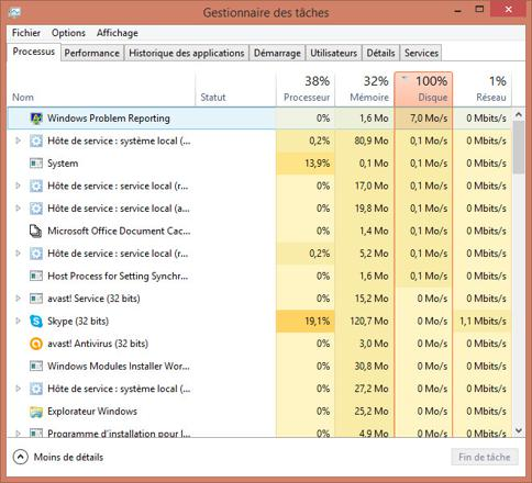 disque dur 100 windows 10