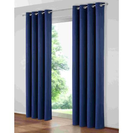 double rideaux bleu marine