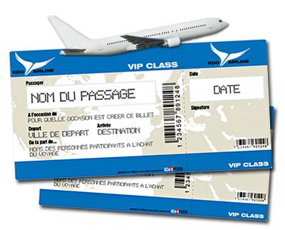 faux billet d'avion cadeau
