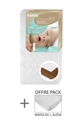 kadolis matelas bébé coco latex blanc 60 x 120 cm