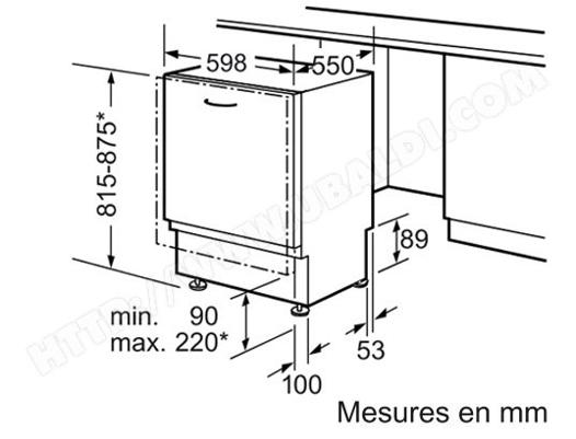 lave vaisselle dimension standard