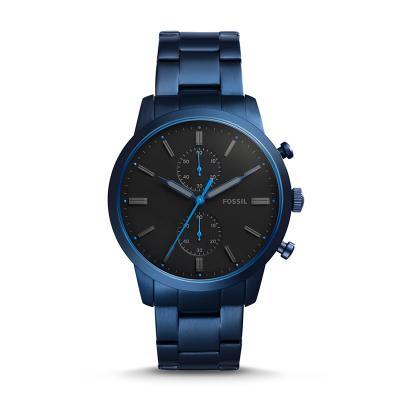 montre fossil homme bleu