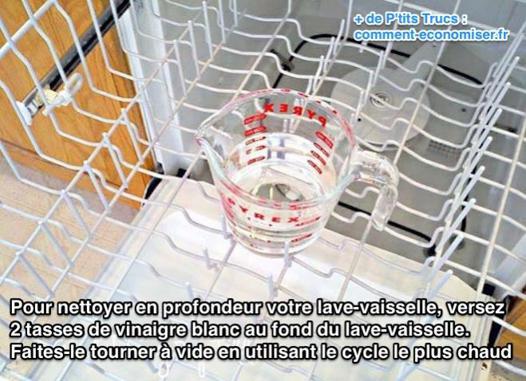 nettoyer lave vaisselle avec vinaigre blanc