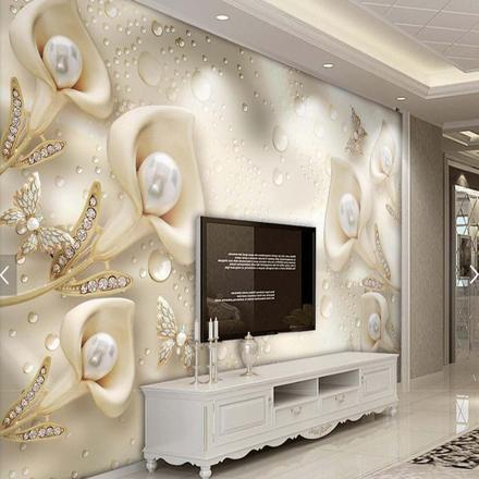 papier peint 3d salon