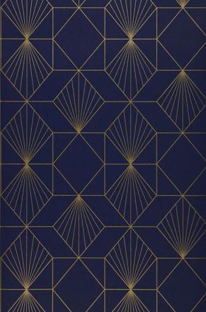 papier peint bleu et or