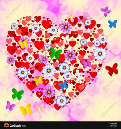 papillon en forme de coeur