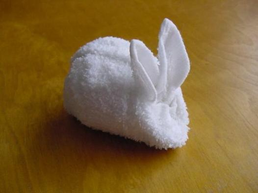 pliage serviette de bain lapin