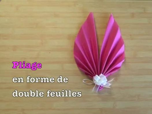 pliage serviette double feuille