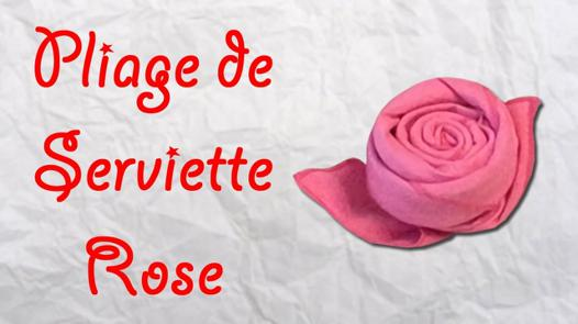 pliage serviette papier en rose
