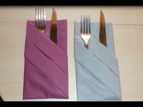 pliage serviette range couvert facile