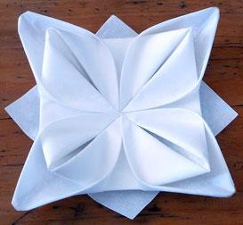 plier serviette table
