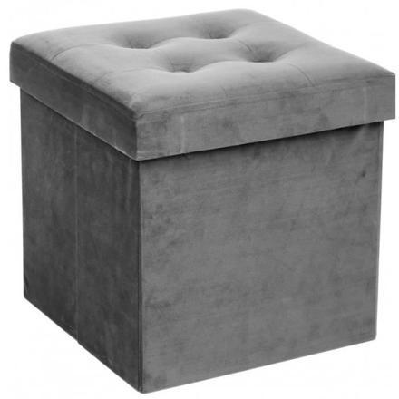 pouf de rangement gris
