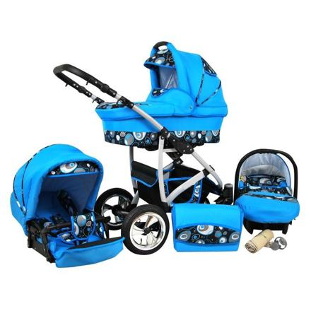 poussette trio bleu