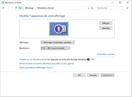 résolution écran windows 10