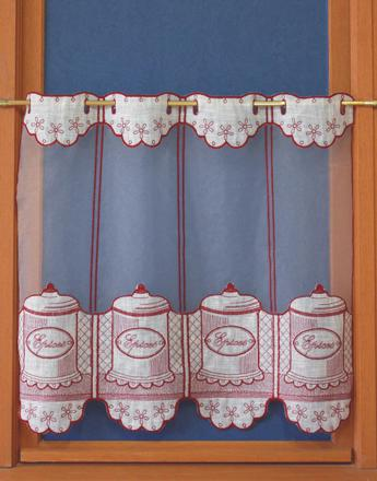 rideaux de cuisine rouge