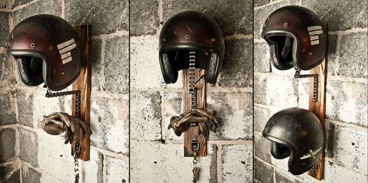 support casque moto mural