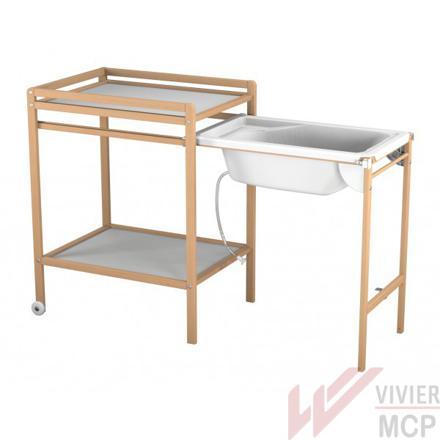 table à langer coulissante avec baignoire