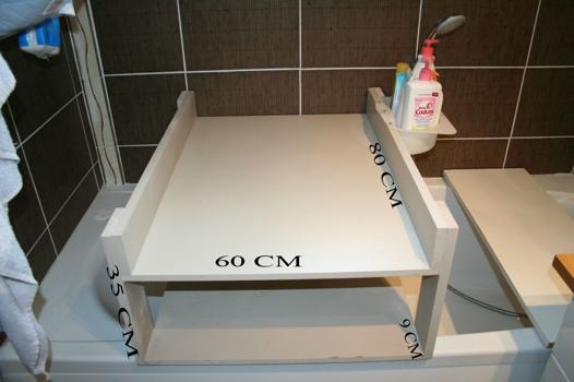 table à langer sur baignoire