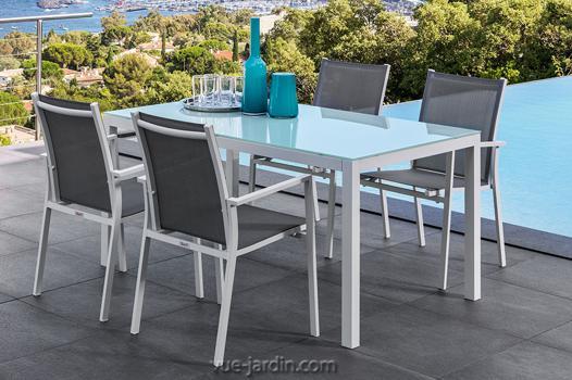 table jardin verre trempé