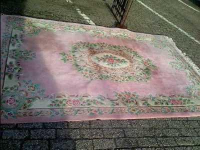 tapis chinois laine rose
