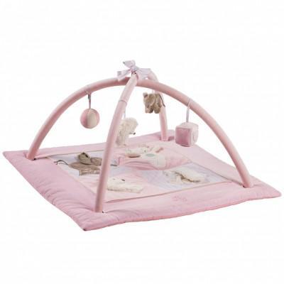 tapis d'éveil rose et gris