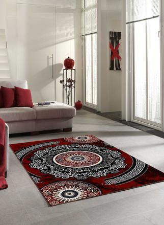 tapis salon rouge et gris