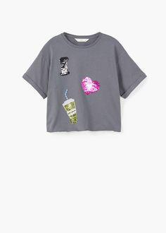 tee shirt sequin reversible fille