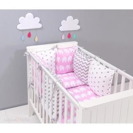 tour de lit bébé gris et rose