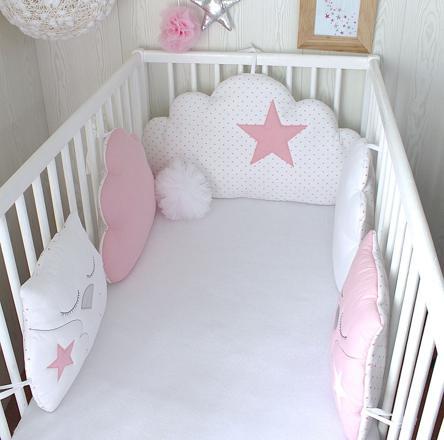tour de lit bebe rose